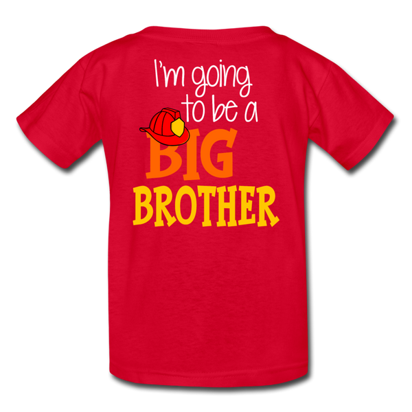 This Lil Firefighter Has A Secret Big Brother Kids' T-Shirt - red
