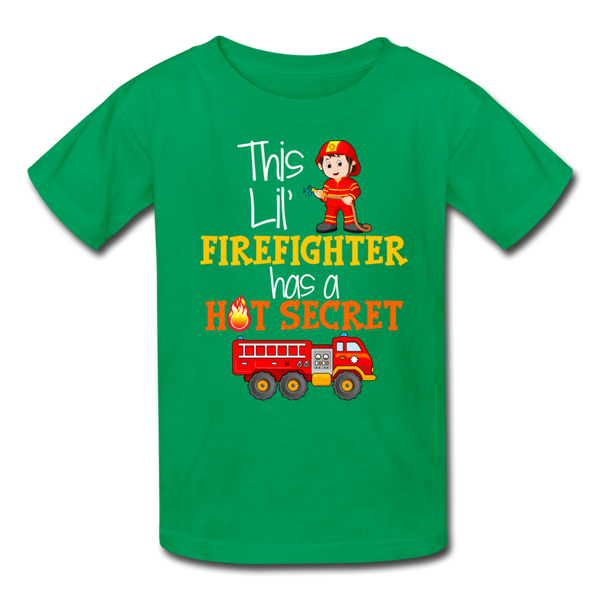 This Lil Firefighter Has A Secret Big Brother Kids' T-Shirt - kelly green