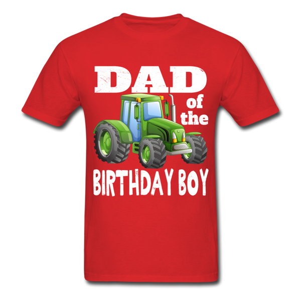 Green Tractor Dad of the Birthday Boy Men's T-Shirt - red