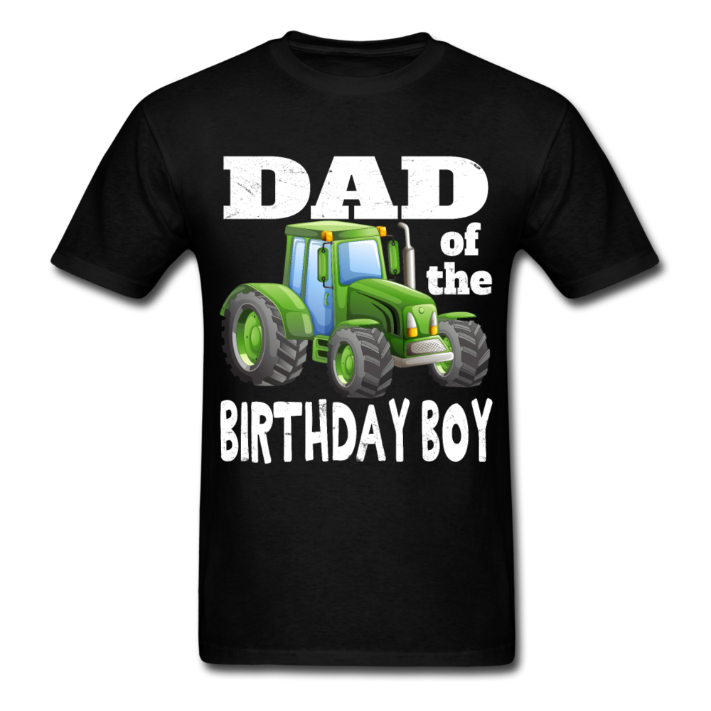 Green Tractor Dad of the Birthday Boy Men's T-Shirt - black