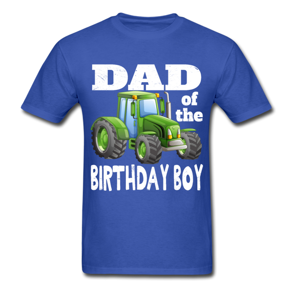 Green Tractor Dad of the Birthday Boy Men's T-Shirt - royal blue