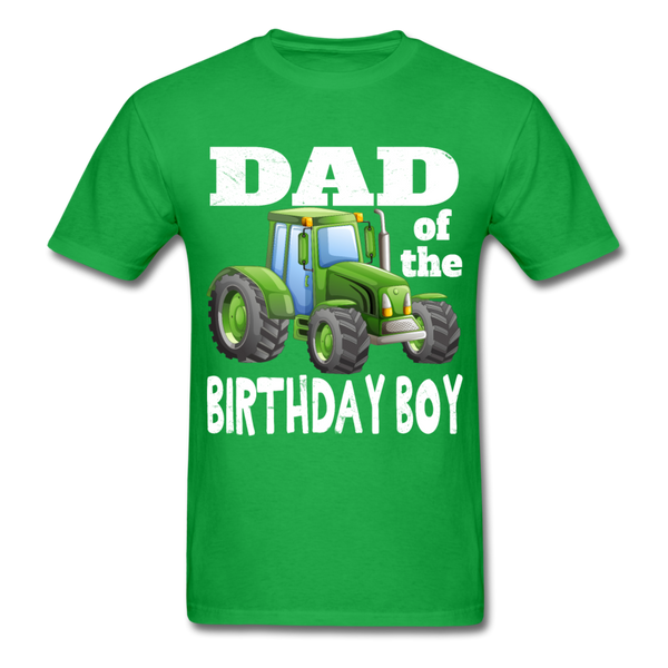 Green Tractor Dad of the Birthday Boy Men's T-Shirt - bright green