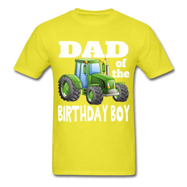 Green Tractor Dad of the Birthday Boy Men's T-Shirt - yellow