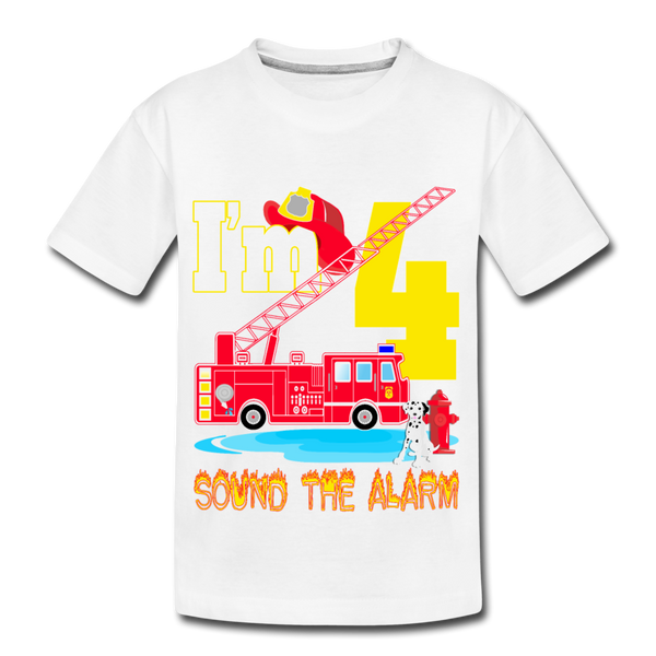 Sound The Alarm I'm 4 Youth T-Shirt - white