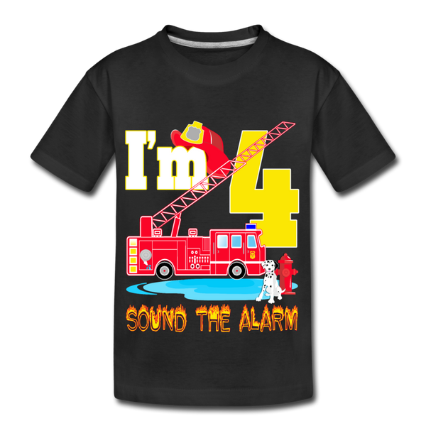 Sound The Alarm I'm 4 Youth T-Shirt - black