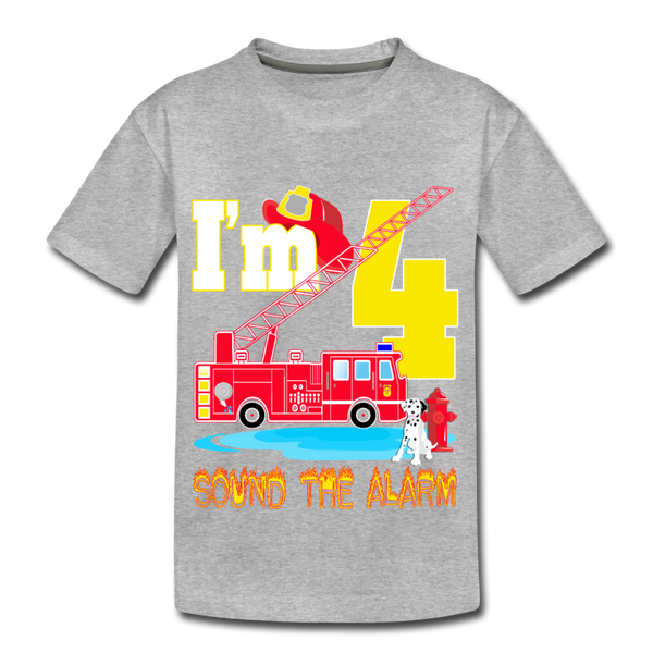 Sound The Alarm I'm 4 Youth T-Shirt - heather gray