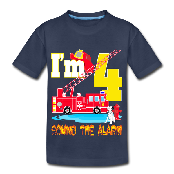 Sound The Alarm I'm 4 Youth T-Shirt - navy
