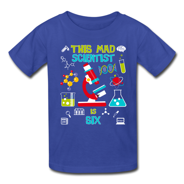 This Mad Scientist Is Six 6 Kids' T-Shirt - royal blue