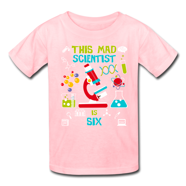 This Mad Scientist Is Six 6 Kids' T-Shirt - pink