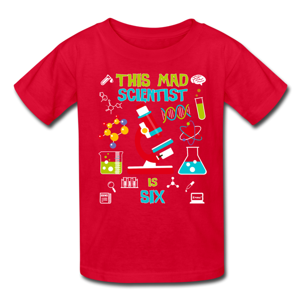 This Mad Scientist Is Six 6 Kids' T-Shirt - red