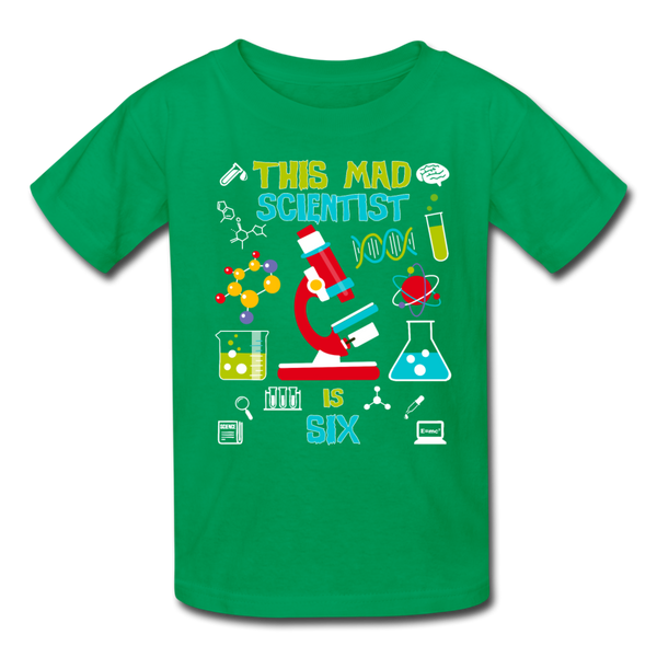 This Mad Scientist Is Six 6 Kids' T-Shirt - kelly green