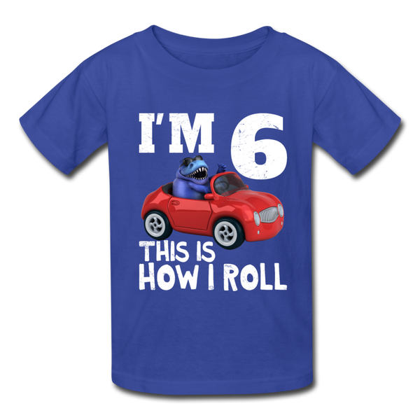 I'm 6 This Is How I Roll T-Rex Dinosaur Car Kids' T-Shirt - royal blue