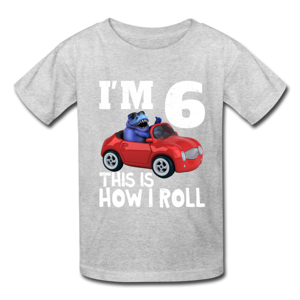 I'm 6 This Is How I Roll T-Rex Dinosaur Car Kids' T-Shirt - heather gray