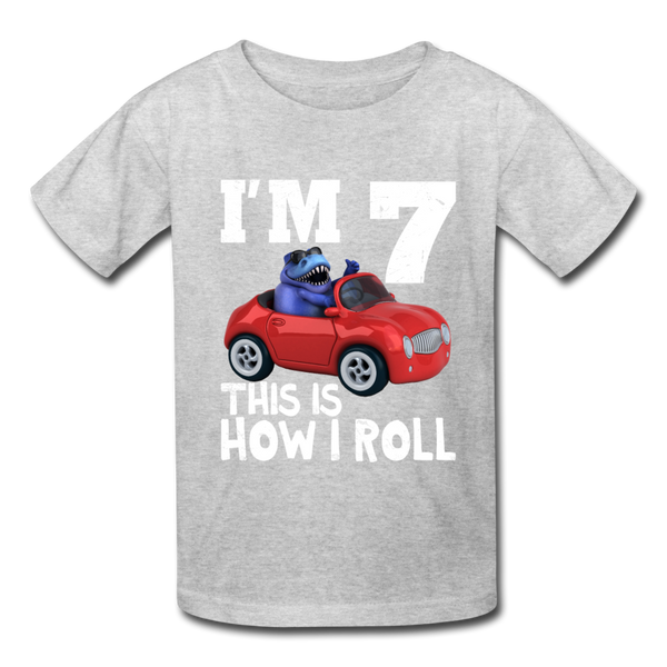 I'm 7 This Is How I Roll T-Rex Dinosaur Car Kids' T-Shirt - heather gray