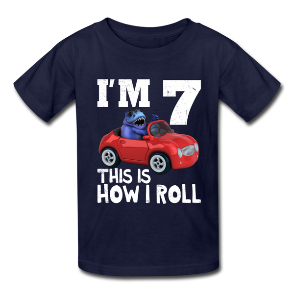 I'm 7 This Is How I Roll T-Rex Dinosaur Car Kids' T-Shirt - navy