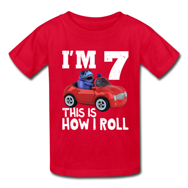 I'm 7 This Is How I Roll T-Rex Dinosaur Car Kids' T-Shirt - red