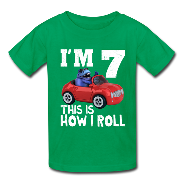 I'm 7 This Is How I Roll T-Rex Dinosaur Car Kids' T-Shirt - kelly green
