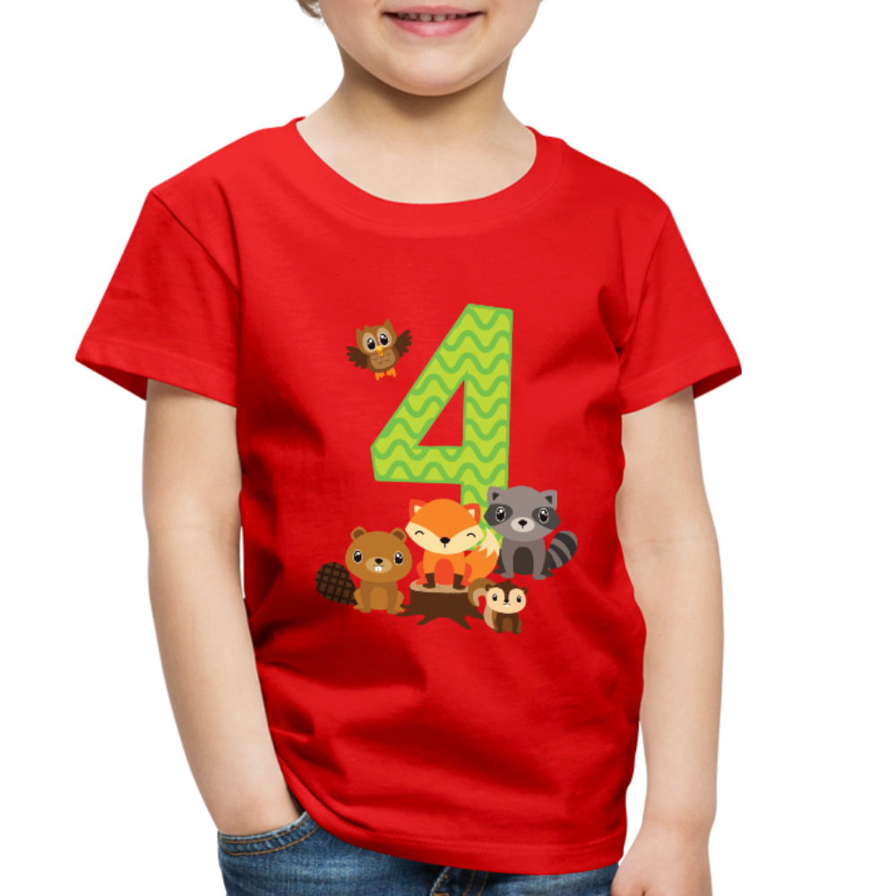 4th Birthday Forest Animals Toddler Premium T-Shirt - red