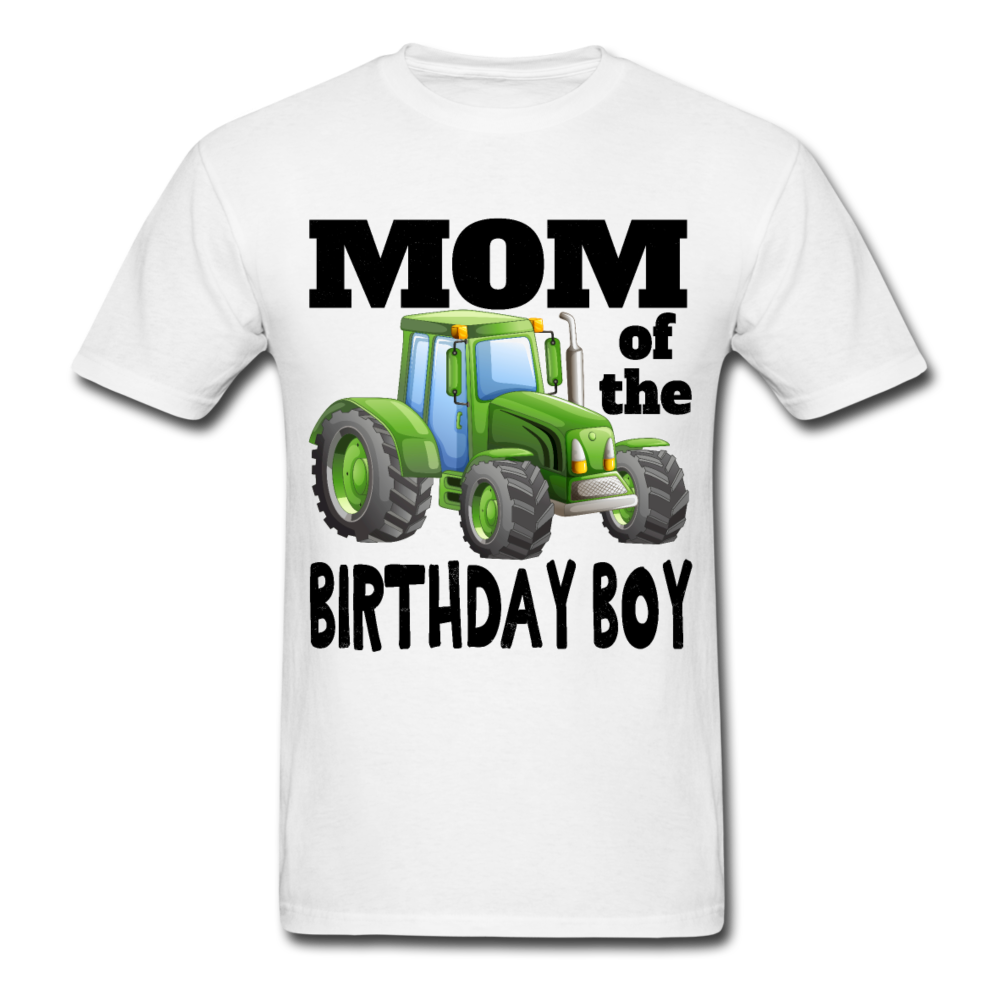 Mom of the Birthday Boy Green Tractor Black Text T-Shirt 3930 - white