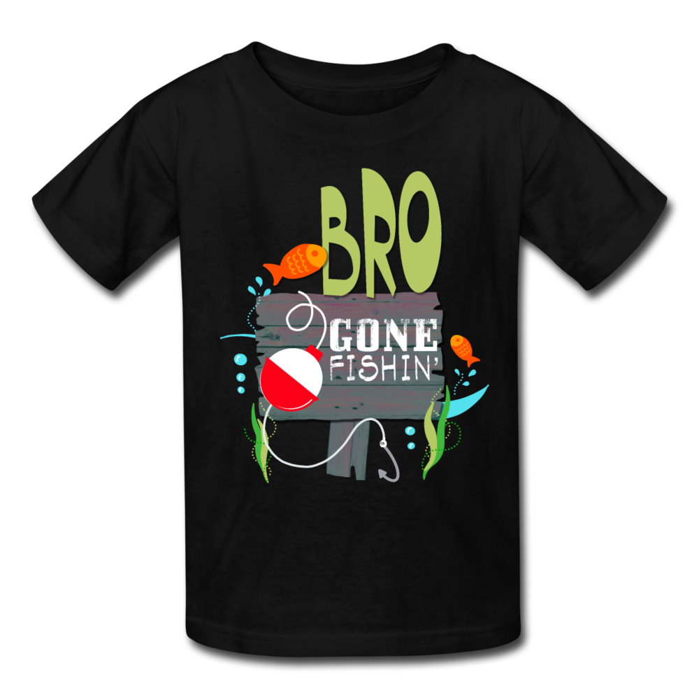Bro Gone Fishin' Kids' T-Shirt - black