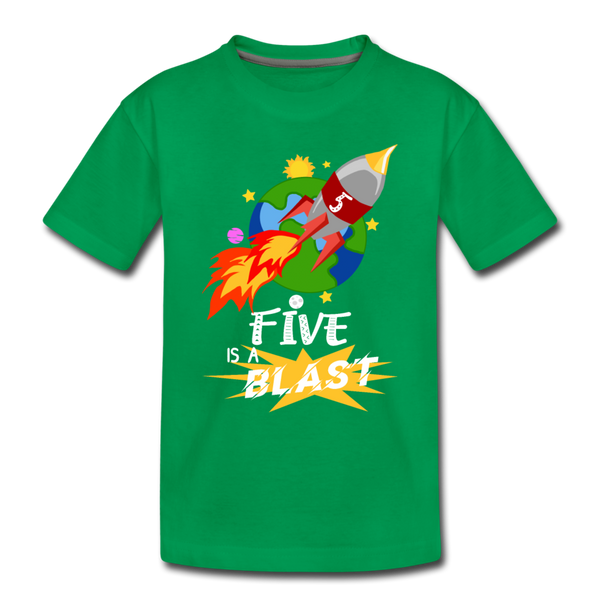 Rocket Space Ship Blast 4 Toddler Premium T-Shirt - kelly green
