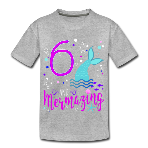 Mermazing Birthday 6 Mermaid Kids' Premium T-Shirt - heather gray