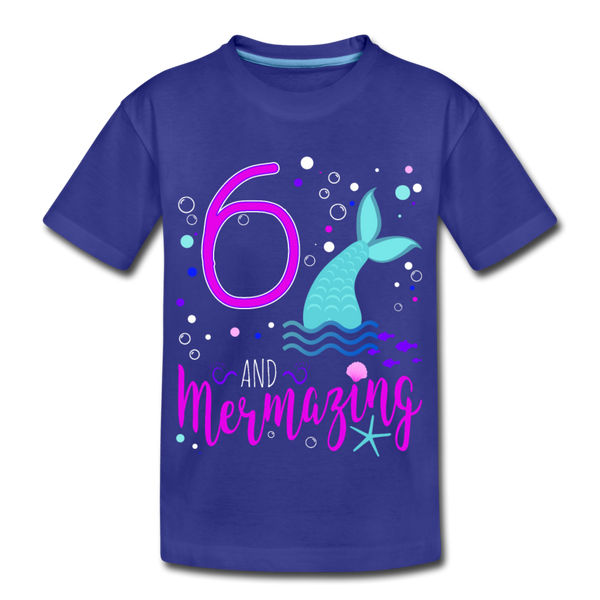 Mermazing Birthday 6 Mermaid Kids' Premium T-Shirt - royal blue