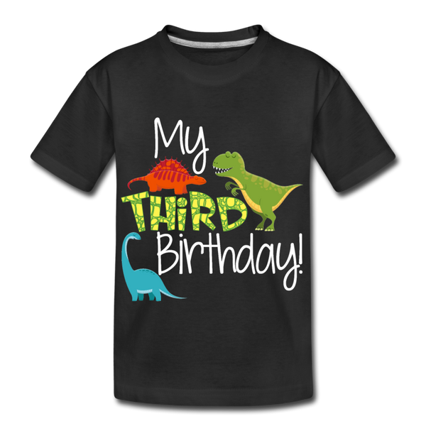 My Third Birthday Dinosaur Kids' Premium T-Shirt - black