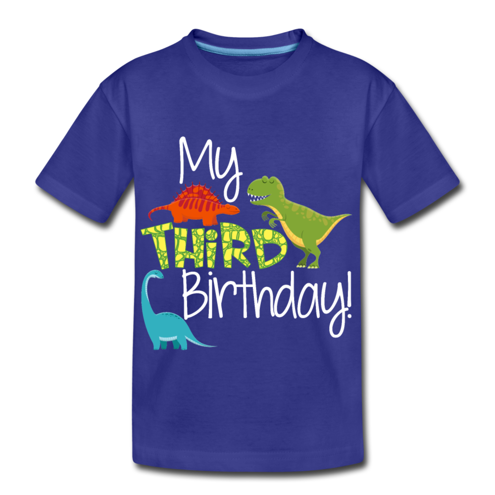 My Third Birthday Dinosaur Kids' Premium T-Shirt - royal blue