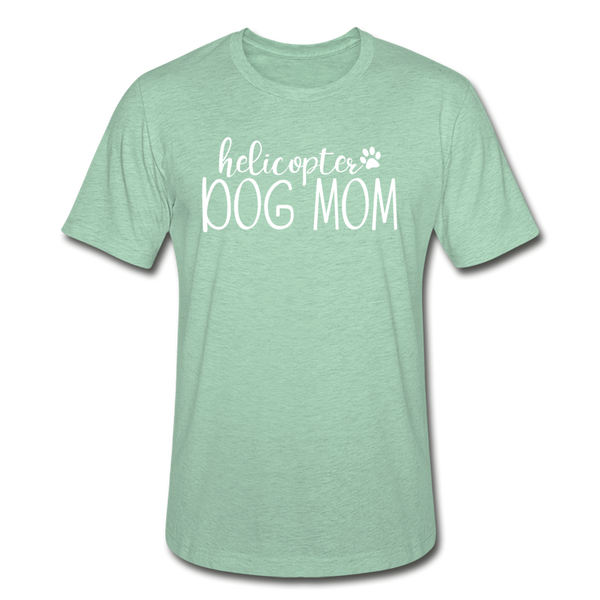 Helicopter Dog Mom Unisex Heather Prism T-Shirt - heather prism mint