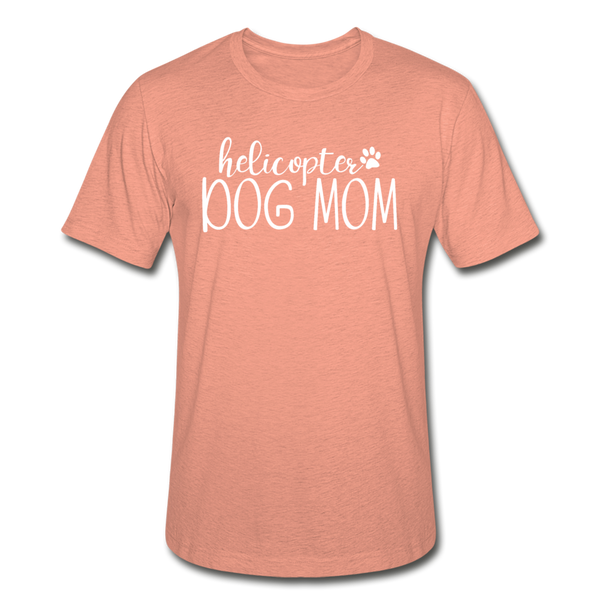 Helicopter Dog Mom Unisex Heather Prism T-Shirt - heather prism sunset