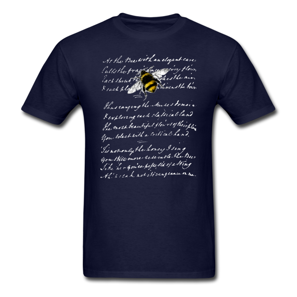 Honey Bee & Vintage French Script T-Shirt 3930 - navy