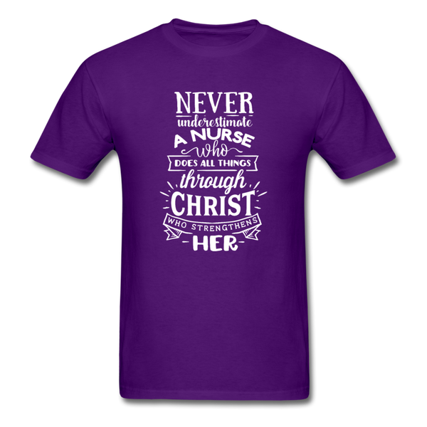Never Underestimate A Nurse Who Can Do All Things... T-Shirt 3930 - purple