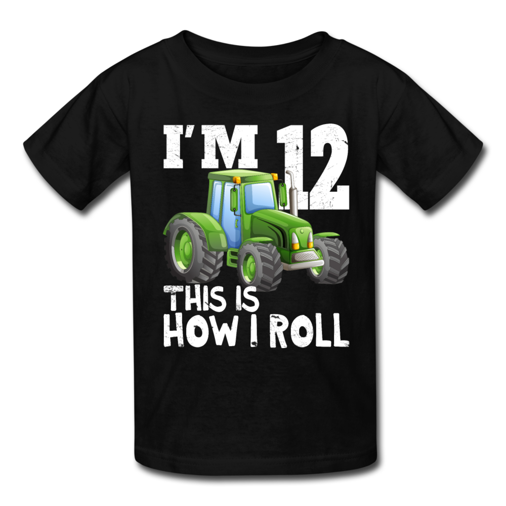 I'm 12 This Is How I Roll Green Tractor Kids' T-Shirt - black