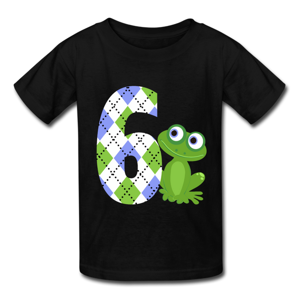 Argyle Blue Frog 6 Kids' T-Shirt - black