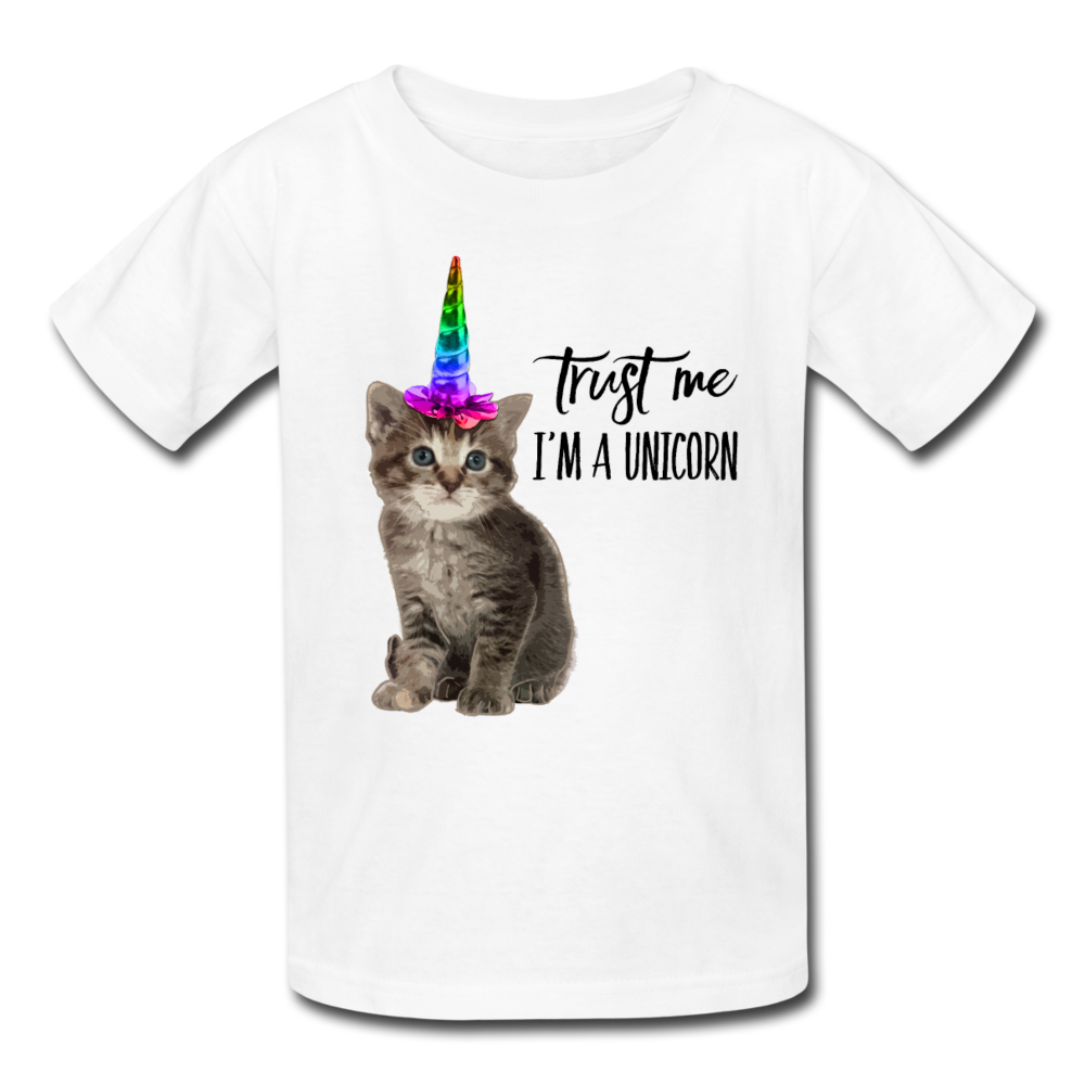 Trust Me I'm A Unicorn Cat Kids' T-Shirt - white