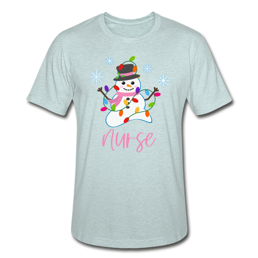 Snowman Nurse Unisex Heather Prism T-Shirt - heather prism ice blue