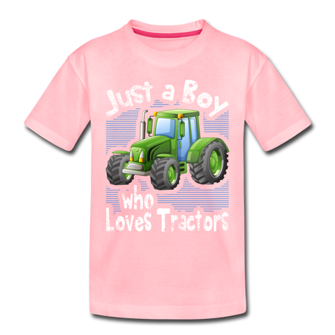 Just A Boy Who Loves Green Tractors Toddler Premium T-Shirt - pink