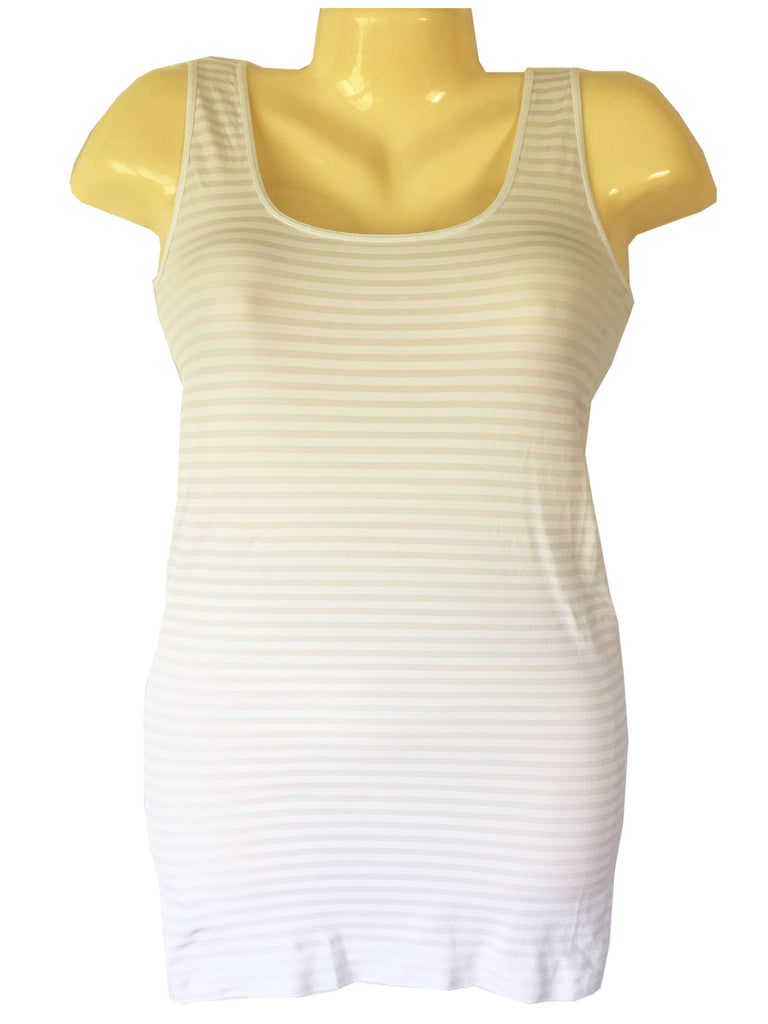 Tees by Tina Microstripe Tank Top in White, OSFM