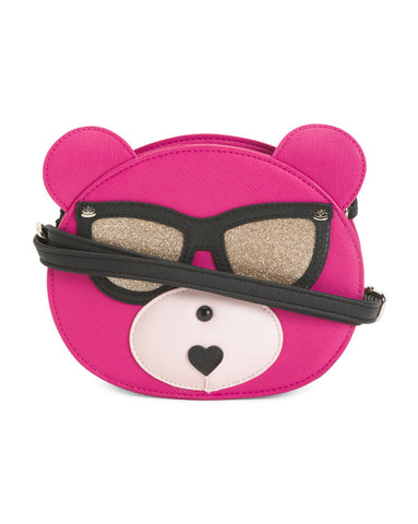 Lily Bloom Cool Bear Pink with Glitter Sunglasses Crossbody Bag
