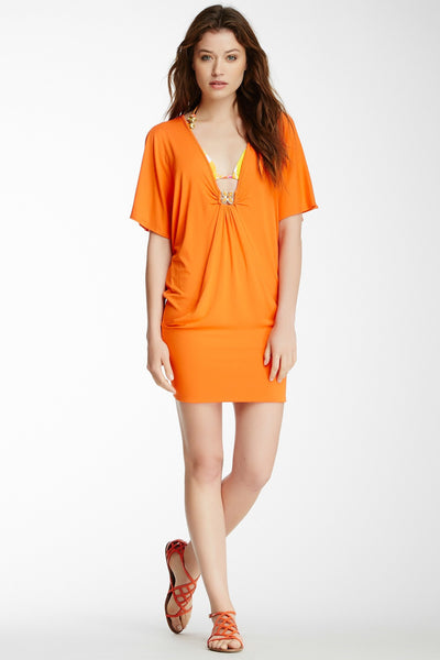 Trina Turk Tangerine Orange Nomad Solid Tunic Jersey Dress Beach Swim Cover Sz S