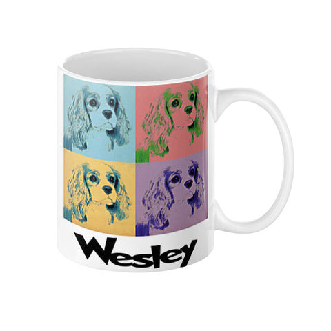 Wesley King Charles Spaniel Pop Art Coffee Mug 11 or 15 oz.  Swanky Bazaar