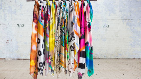 Dog and Boy Designs | Large, oversized colourful scarves | unique designs