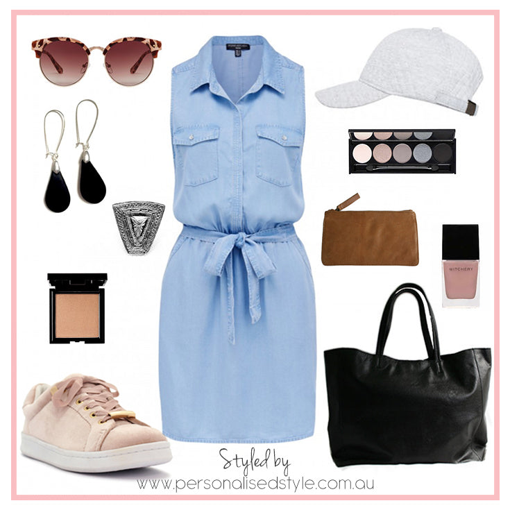 Denim dress with waist tie.  Outfit ideas for School drop-offs and pick-ups