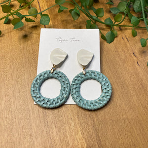 Rattan hoop drop earrings | Ocean | Tiger Tree
