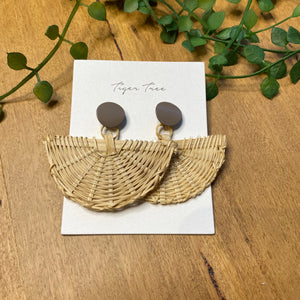 Rattan fan drop earrings | Latte stud | Tiger Tree