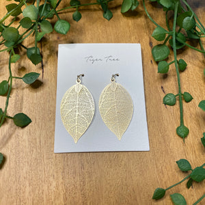 Leaf drop earrings | Large | Gold | Tiger Tree