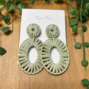 Rattan statement drop earrings | Khaki | Tiger Tree