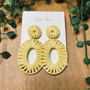 Rattan statement drop earrings | Lemon | Tiger Tree
