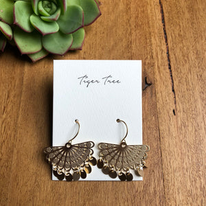 Drop earrings - Gold fan | Tiger Tree
